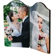 Arch photo panel with hinges - left and right panel, HB, White, Gloss, 73 x 133.4 mm (x2) x 6.35 mm