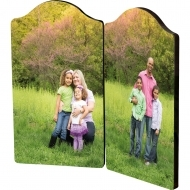Arch photo panel with hinges - left and right panel, HB, White, Gloss, 127 x 177.8 mm (x2) x 6.35 mm