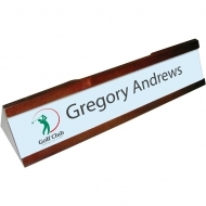 Mahogany name plate with aluminium insert, Wood/Aluminium, White, Gloss