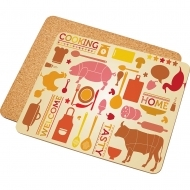 Place mat with cork backing, HDF+Cork, White, Gloss, 195 x 235 х 3.18 mm