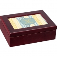 Mahogany box with insert, Wood/HDF, White, Gloss, with aluminum insert 127 x 177.8 x 1.14mm