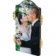 Arch photo panel with hinges - Center, HB, White, Gloss, 73 x 133.4 mm x 6.35 mm