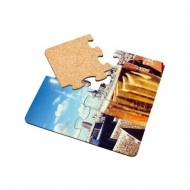 Coaster - Puzzle, with cork backing, HDF+CORK, White, Gloss, 193.68 x 193.68 х 3.18 mm