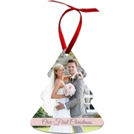 "Aluminum Gloss White Tree Ornament 2 Sided w/red ribbon 3.38""x3.95"" / 86 x 100 mm 50 pcs/box"